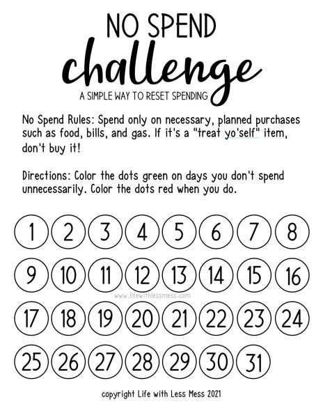 No Spend Challenge Tracker