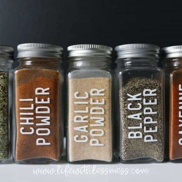 Decanted Spices with custom vinyl labels