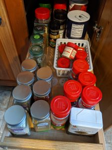 """Before — all my spices were """"organized"""" but could use an upgrade."""
