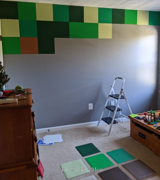 The Minecraft Wall for the Minecraft Bedroom is starting to take shape.