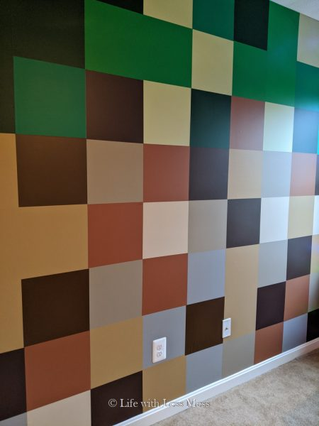 This Minecraft Wall is the centerpiece of this Minecraft Bedroom.