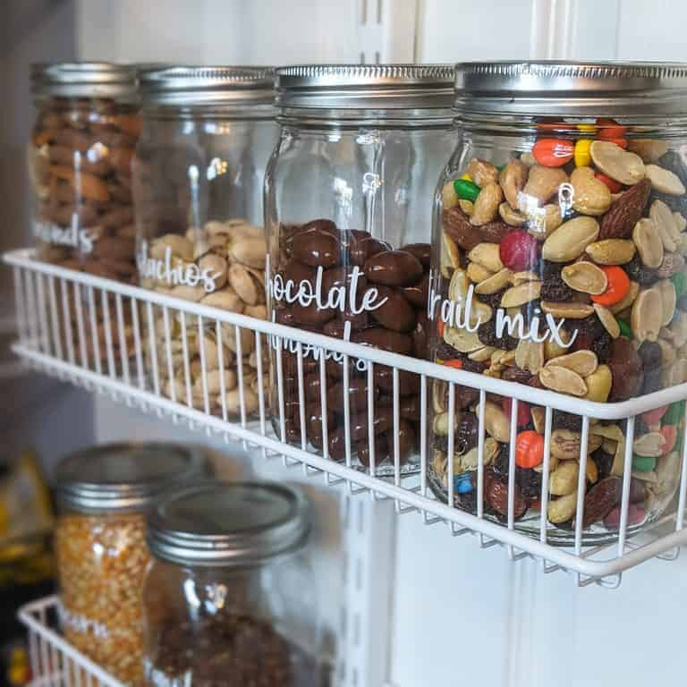 We use canisters and decant items we eat in portions.