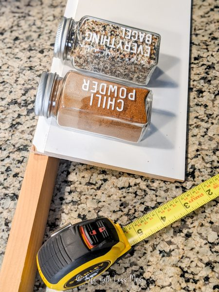 Testing the angles of the DIY Spice Drawer Inserts