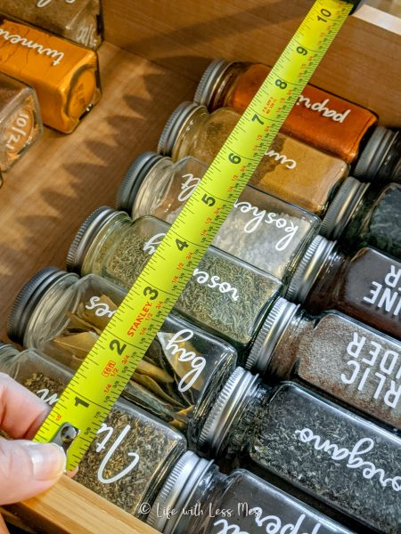 Measure carefully before cutting your DIY Spice Drawer Inserts!
