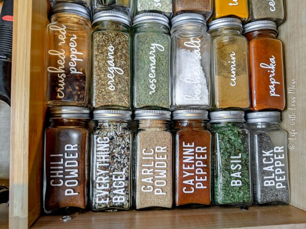 Testing my spices in my drawer to see how much space I needed. Testing out a few spice label options, too.