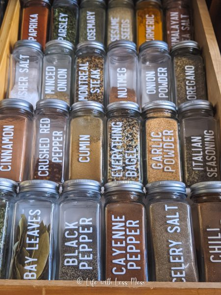 Another view of our Spice drawer with DIY inserts.