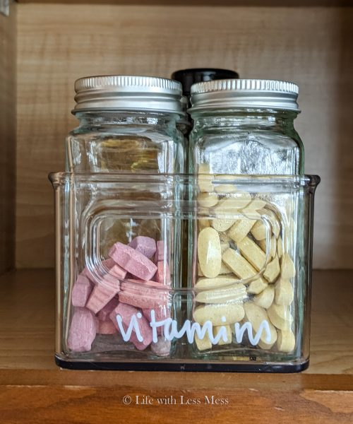Up to 10 glass jars can fit in one acrylic bin, which means I can store 10 vitamin jars instead of just 5.