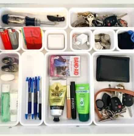 A divided junk drawer is efficient and can help you stay organized.