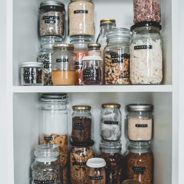 Need canisters for  the pantry? Try reusing the jars that come with your food.