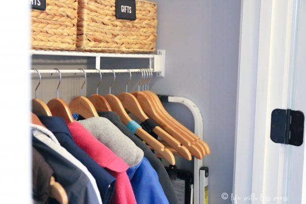 Coat closet organization: stash a step stool between the coats and the wall.