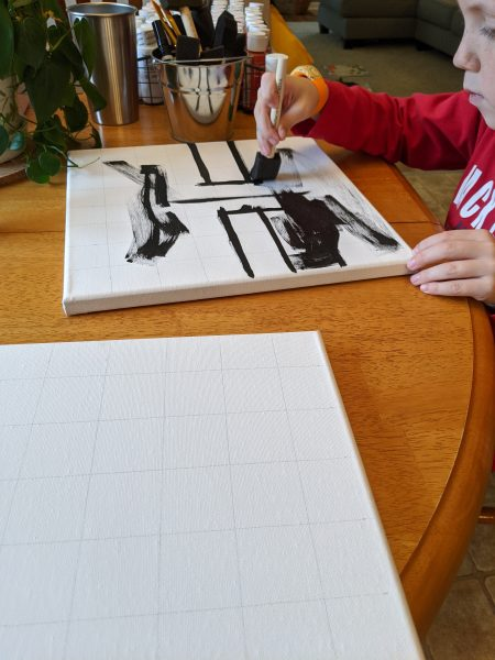 Creating some Minecraft art for the Minecraft Bedroom.