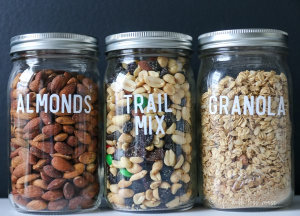 Mason Jars are great pantry canisters for organizing.