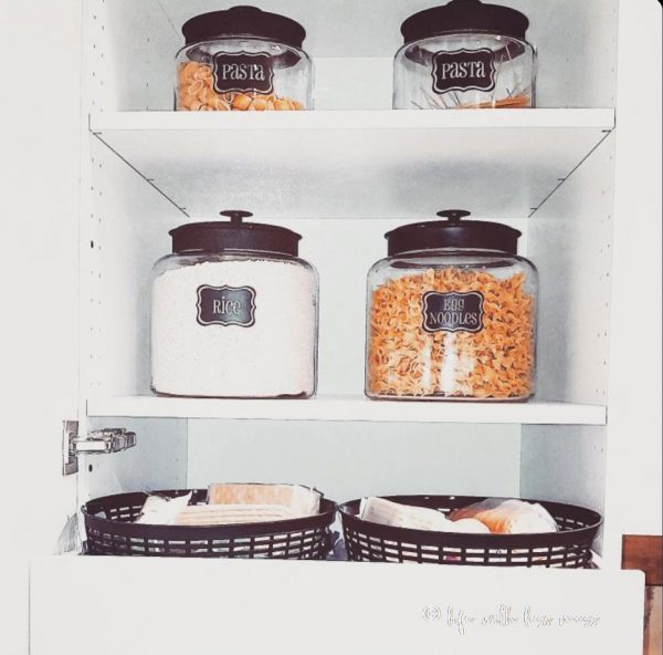 The black lids on these pantry canisters take the style up a notch.