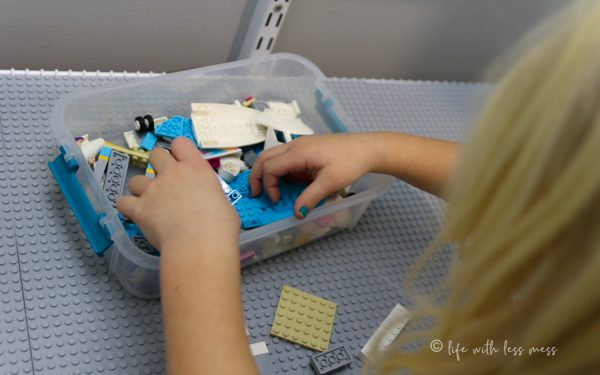 Organizing LEGO by set is also helpful if that's how your little ones like to play.