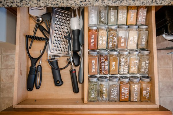 Before: My spice drawer before the tea moved in.