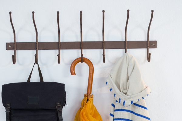 Hooks are a great tool for organizing your coat closet.