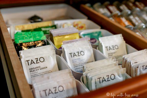 Tea bags set up in little bins in my tea drawer.