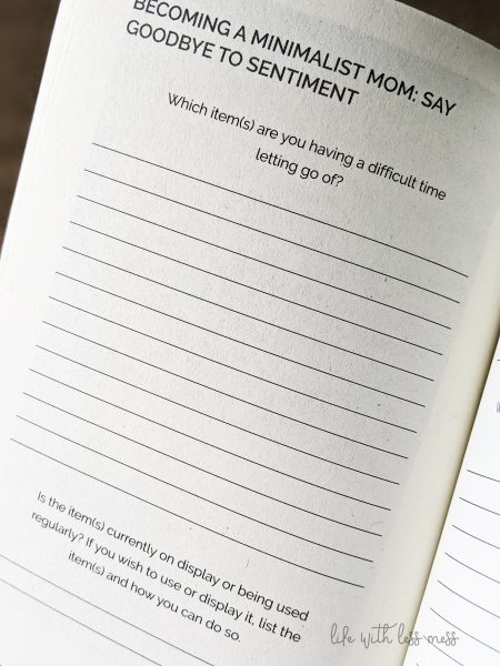 Minimalist Moms has thought-provoking questions and lines for note taking and reflection.
