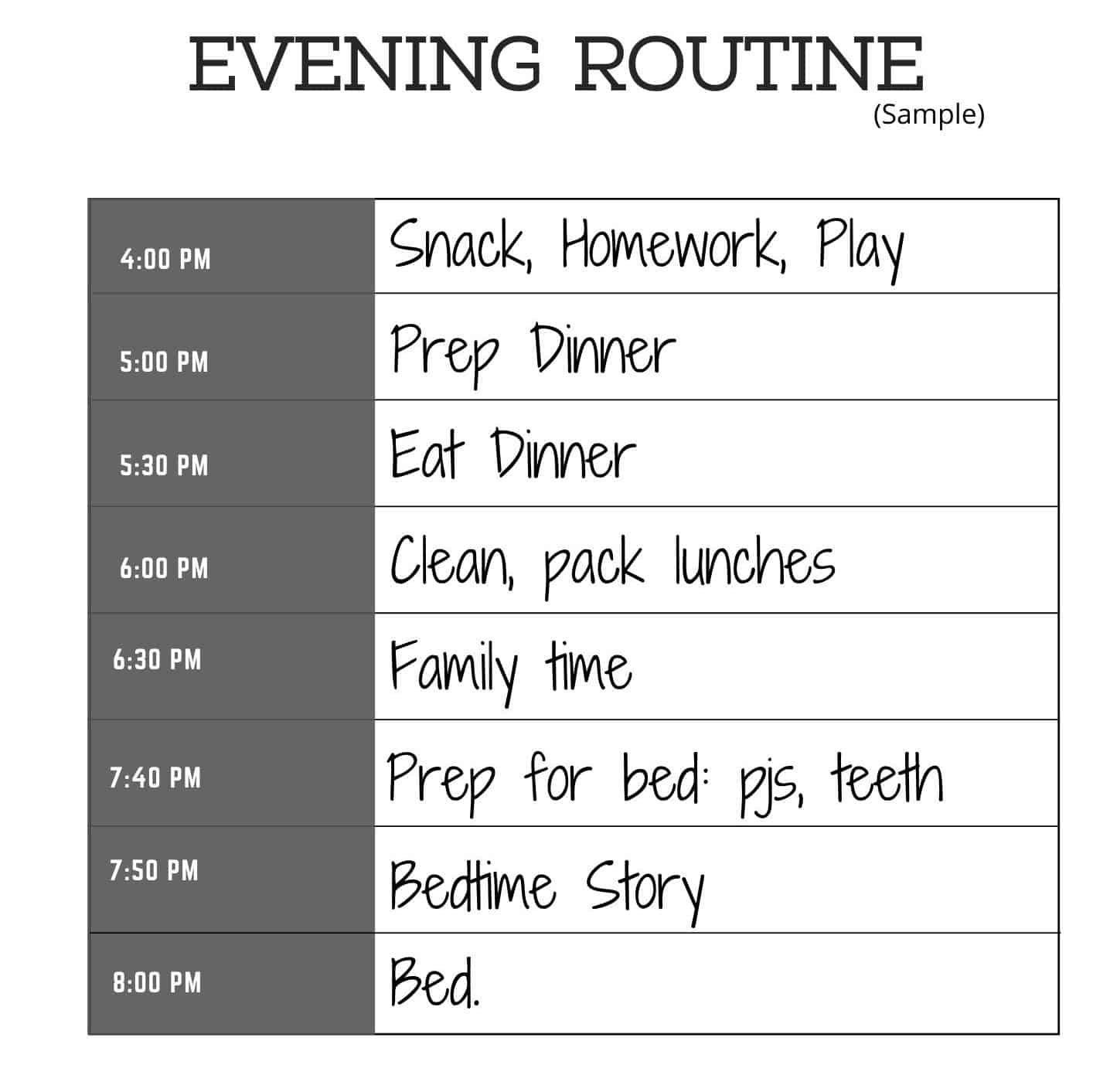 A sample evening routine for a family