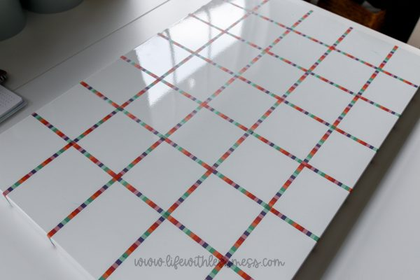 Grid lines made out of washi tape